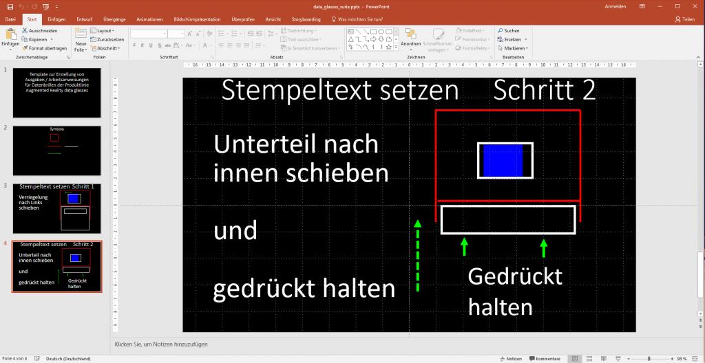 Es wird ein Power Point Template mit Beispielen zur Datenbrillen Contentausgabe gezeigt